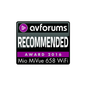 Mio MiVue 658 WIFI   AVForums  Recommended Award 2016 UK